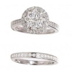 18ct White Gold 1.00ct Diamond Halo Bridal Set SKR15172-100