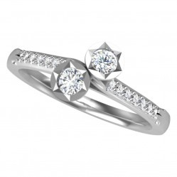 18ct White Gold 0.33ct Illusion Set Diamond Twist Ring 9710/18W/DQ10