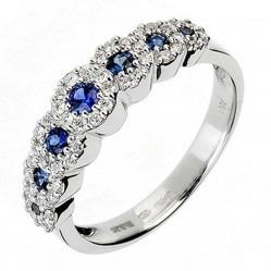 18ct White Gold Sapphire Diamond Seven Stone Cluster Ring 18DR236/S/W