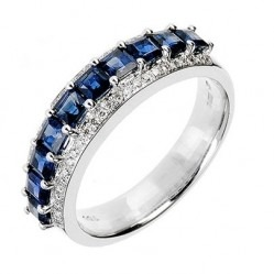 18ct White Gold Sapphire and Diamond Three Row Half Eternity Ring 18DR264/S/W