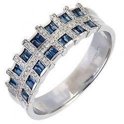 18ct White Gold Sapphire Diamond Check Ring 18DR278-S-W