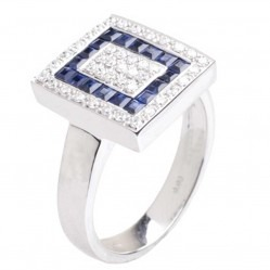 18ct White Gold Sapphire and Diamond Square Cluster Ring 18DR284-S-W
