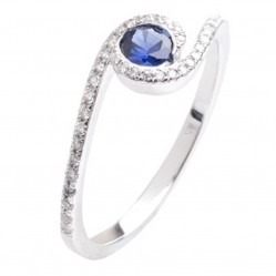 18ct White Gold Sapphire Diamond Swirl Ring 18DR290-S-W
