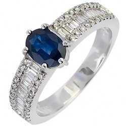 18ct White Gold Oval Sapphire and Multi-cut Diamond Shouldered Ring 18DR304-S-W N