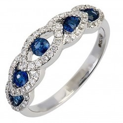 18ct White Gold Sapphire Diamond Marquise Halo Ring 18DR312-S-W