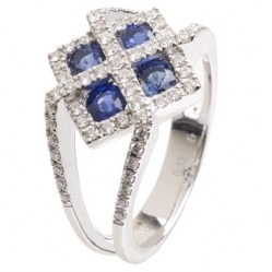 18ct White Gold Fancy Sapphire and Diamond Square Cluster Ring 18DR313-S-W L