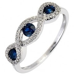 18ct White Gold Sapphire and Diamond Triple Cluster Ring 18DR314-S-W L