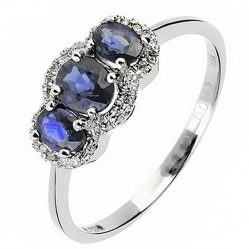 18ct White Gold Sapphire and Diamond Triple Cluster Ring 18DR325-S-W