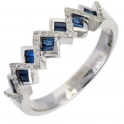 18ct White Gold Sapphire Diamond Zigzag Cluster Ring 18DR332-S-W