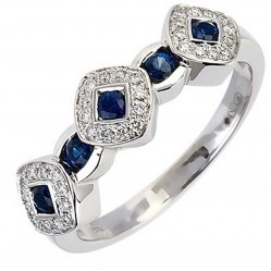 18ct White Gold Sapphire and Diamond Triple Cluster Ring 18DR342-S-W