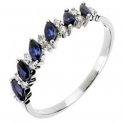 18ct White Gold Sapphire Diamond Half Eternity Ring 18DR344-S-W