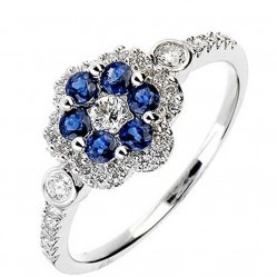 18ct White Gold Diamond Sapphire Flower Cluster Ring 18DR349-S-W