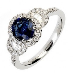 18ct White Gold Sapphire and Diamond Fancy Cluster Ring 18DR365-S-W L