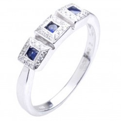 18ct White Gold Sapphire and Diamond Triple Cluster Ring 18DR369-S-W