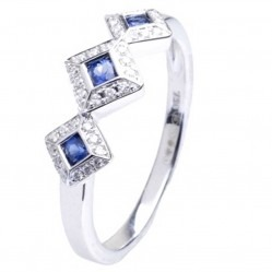 18ct White Gold Sapphire and Diamond Triple Cluster Ring 18DR371-S-W