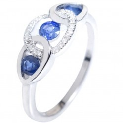 18ct White Gold Sapphire Diamond Linked Oval Trilogy Ring 18DR372/S/W/P