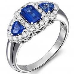 18ct White Gold Sapphire and Diamond Triple Cluster Ring 18DR375-S-W