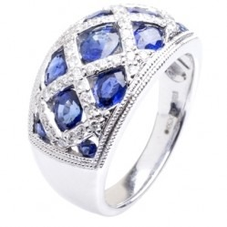 18ct White Gold Oval Sapphire and Diamond Mesh Cluster Ring 18DR376-S-W O