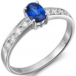 18ct White Gold Oval Sapphire Diamond Shoulders Ring 18DR378-S-W