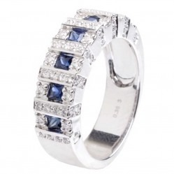 18ct White Gold Sapphire Diamond Seven Square Ring 18DR379-S-W