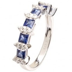 18ct White Gold Sapphire and Diamond Fancy Half Eternity Ring 18DR380-S-W