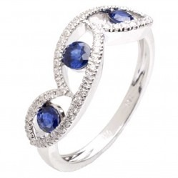 18ct White Gold Sapphire Diamond Trilogy Ring 18DR381-S-W
