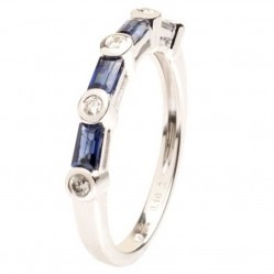 18ct White Gold Sapphire and Diamond Half Eternity Ring 18DR383/S/W