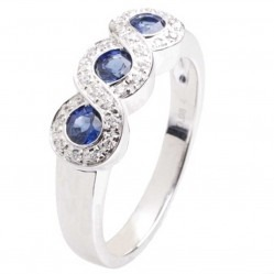 18ct White Gold Sapphire and Diamond Trilogy Ring 18DR384-S-W