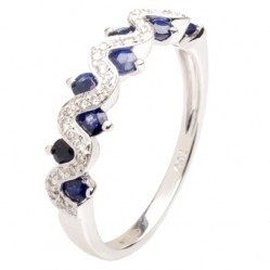 18ct White Gold Sapphire and Diamond Fancy Wave Ring 18DR418-S-W O