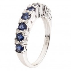 18ct White Gold Sapphire and Half Eternity Ring 18DR432-S-W