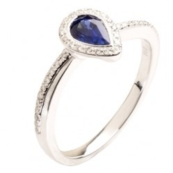 18ct White Gold Pear-cut Sapphire and Diamond Cluster Ring 18DR437-S-W N