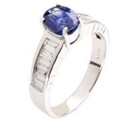 18ct White Gold Oval Sapphire and Diamond Shouldered Ring 18DR448-S-W N