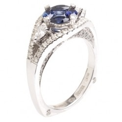 18ct White Gold Multi-cut Sapphire and Diamond Cluster Ring 18DR444-S-W L