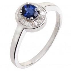 18ct White Gold Sapphire Diamond Halo Ring 18DR415-S-W