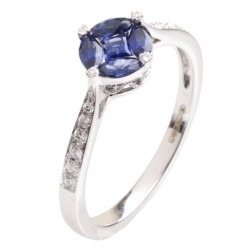 18ct White Gold Multi-cut Sapphire Cluster and Diamond Shouldered Ring 18DR403-S-W M