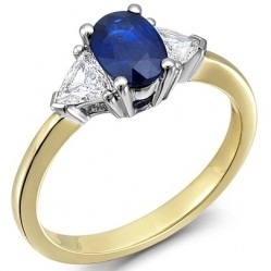 18ct Gold Oval Sapphire and Trillion Diamond Trilogy Ring 18DR252-S-2C O