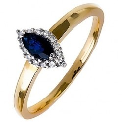 18ct Gold Marquise Sapphire and Diamond Cluster Ring 18DR257-S-2C O