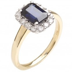 18ct Yellow Gold Sapphire and Diamond Cluster Ring 18DR258-S-2C