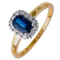 18ct Gold Emerald-Cut Sapphire and Diamond Cluster Ring 18DR259-S-2C