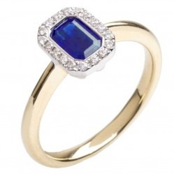 18ct Gold Sapphire Diamond Halo Ring 18DR334-S-2C