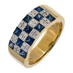 18ct Gold Square Sapphire and Round Diamond Checkerboard Cluster Ring 18DR341-S-2C P
