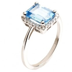 9ct White Gold Baguette Cut Blue Topaz and Diamond Cluster Ring 9DR276-BT-W L