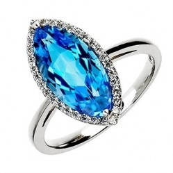 9ct White Gold Blue Topaz and Diamond Marquise Cluster Ring 9DR323-BT-W N