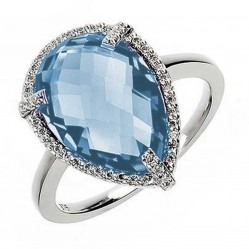9ct White Gold Blue Topaz and Diamond Cluster Ring 9DR329/BT/W