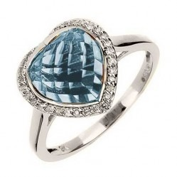 9ct White Gold Heart-cut Blue Topaz and Diamond Cluster Ring 9DR360-BT-W N