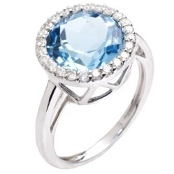 9ct White Gold Blue Topaz and Diamond Round Cluster Ring 9DR390-BT-W O