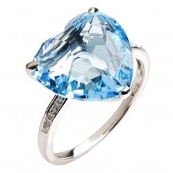 9ct White Gold Heart Topaz Diamond Solitaire Ring 9DR402-BT-W