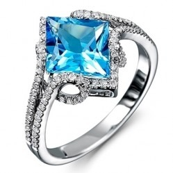 9ct White Gold Square-cut Blue Topaz and Diamond Cluster Ring 9DR408-BT-W O