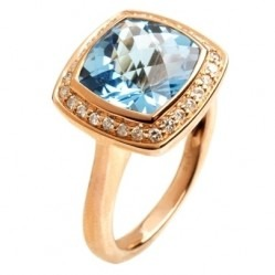 9ct Rose Gold Blue Topaz and Diamond Halo Ring 9DR442-BT-R K
