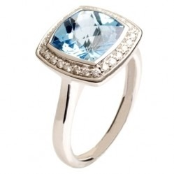9ct White Gold Blue Topaz and Diamond Halo Ring 9DR442-BT-W O
